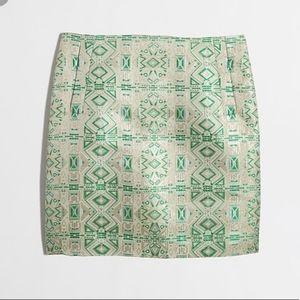 J Crew NWT Aztec print green and gold mini skirt